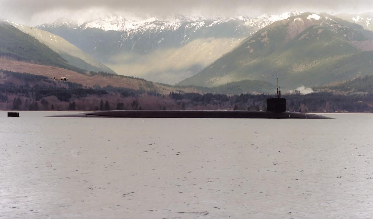 Hood Canal Submarine - Olympics in background - Washington Stsate