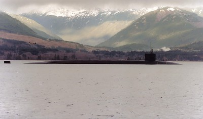 Hood Canal Submarine - Olympics in background - Washington Stsate