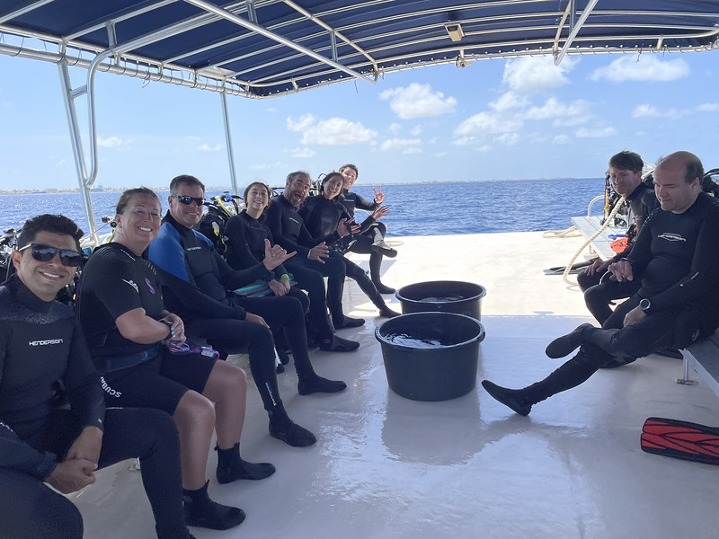 Our group on the spacious boat