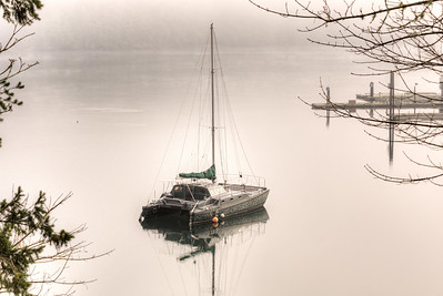 "Misty Catamaran - Genoa Bay, Vancouver Island, British Columbia, Canada  Visit our blog ""The Toad And The Cat"" for the story behind the photo."