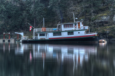 Moored Boat - Early Morning - Maple Bay Marina, Vancouver Island, British Columbia, Canada