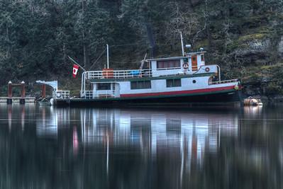 Moored Boat - Early Morning - Maple Bay Marina, Vancouver Island, British Columbia, Canada