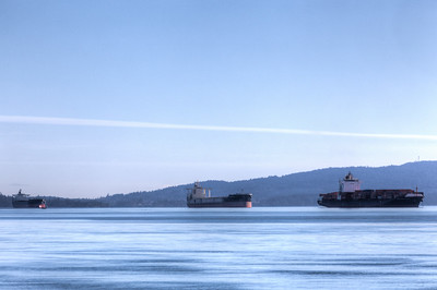 Three Freighters - Cowichan Valley, Vancouver Island, British Columbia, Canada
