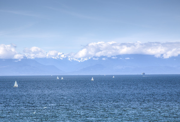 Boats and Ocean and Mountain View - Victoria, Vancouver Island, BC, Canada