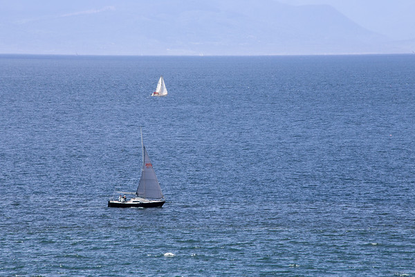 A Sailboat and Boats and Ocean and Mountain View - Victoria, Vancouver Island, BC, Canada