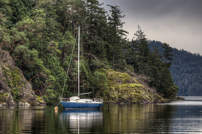 Anchored Sailboat - Sooke, Vancouver Island, British Columbia, Canada