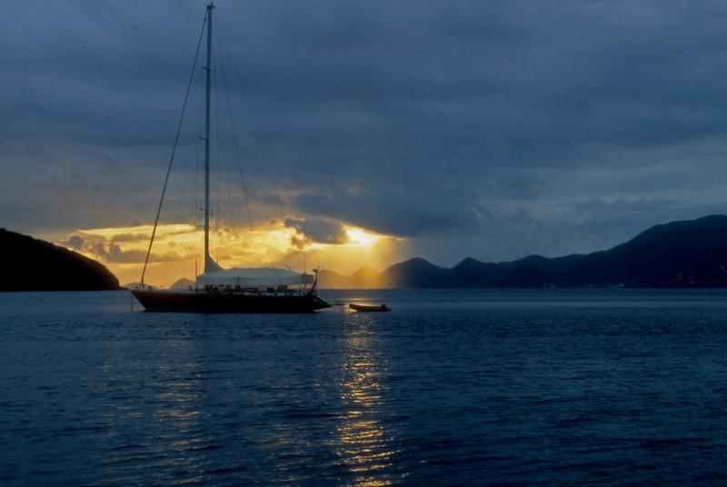 Nice yacth at sunset Tonga