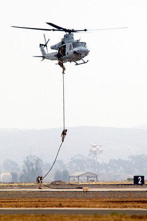 Marines training with helicopter during Miramar air show in San Diego,California on October 03, 2010.