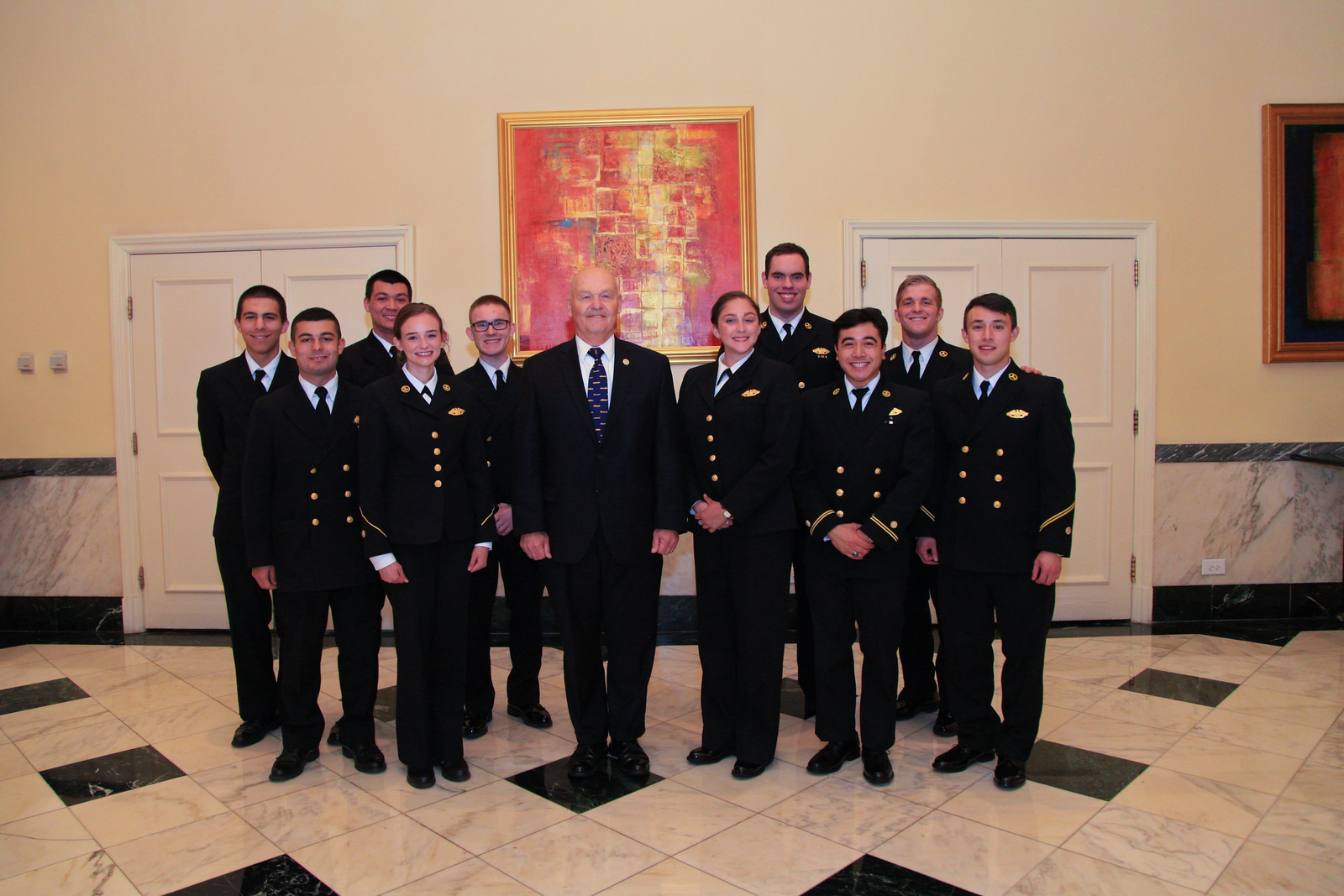 Kings Point Glee Club of the United States Merchant Marine Academy and President Midshipman Shaun Meehan