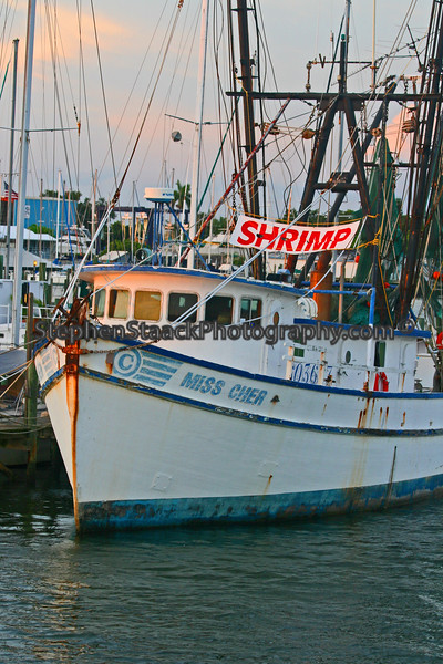 Shrimp boat in port.