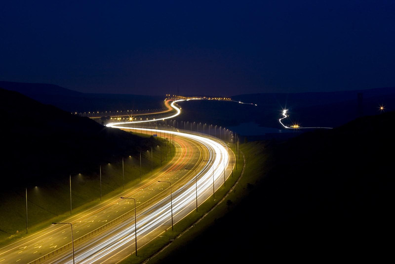 Traffic trails on the M62 near Scamonden Water 12th May 2006