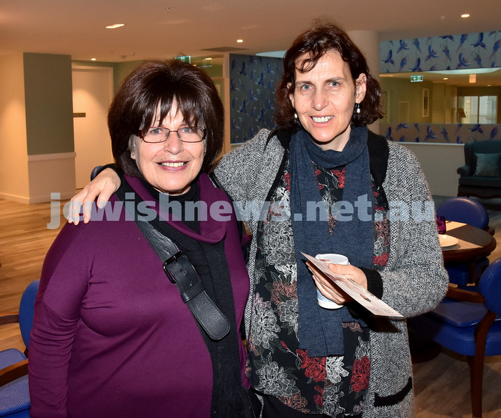 Mark Moran breakfast. Zimra Segall (left), Shani Gabai. Pic Noel Kessel