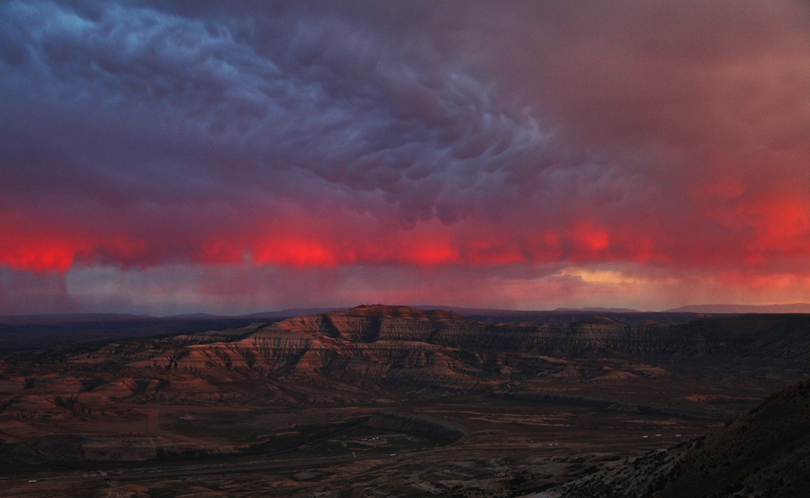 Badlands, Green River, Rainbow, & Mammatus Clouds at Sunset - The Wild Horses of Pilot Butte - Green River, Wyoming - Mark Rasmussen - May/June 2014