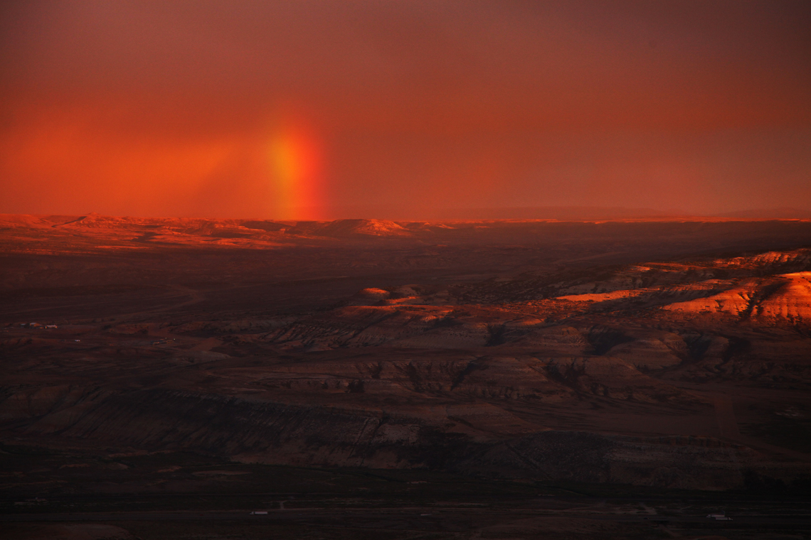 Badlands & Rainbow At Sunset From White Mountain - The Wild Horses of Pilot Butte - Green River, Wyoming - Mark Rasmussen - May/June 2014