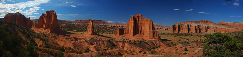 Upper Cathedral Valley - Panoramic image - Capitol Reef National Park, Utah - Mark Rasmussen - July 2011