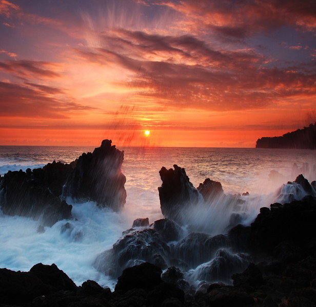 Laupoehoehoe Surf Crash at sunrise - Hawaiian Islands - Mark Rasmussen - February 2011