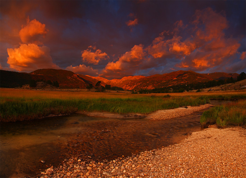 Big Thompson River at Sunrise - Panoramic - Rocky Mountain National Park, Colorado - Mark Rasmussen - July 2010