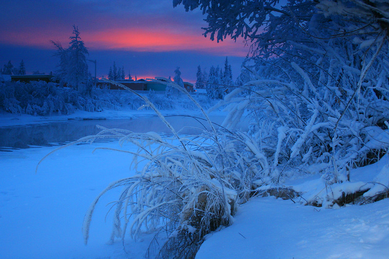 Sunset over the frozen Chena River - Alaska - Mark Rasmussen
