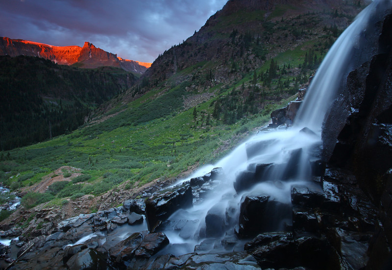 Waterfall sunset - Upper Yankee Boy Basin- San Juan Mountains, CO -  Mark Rasmussen - July 2010