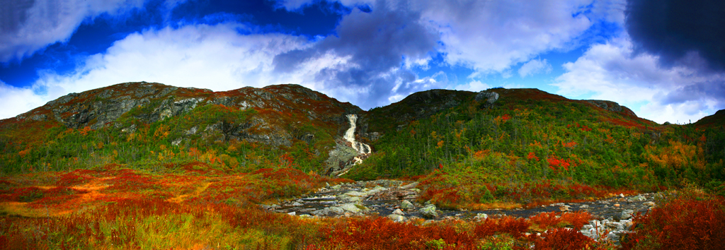 Tundra waterfall and Fall color - Panoramic - Newfoundland - Mark Rasmussen