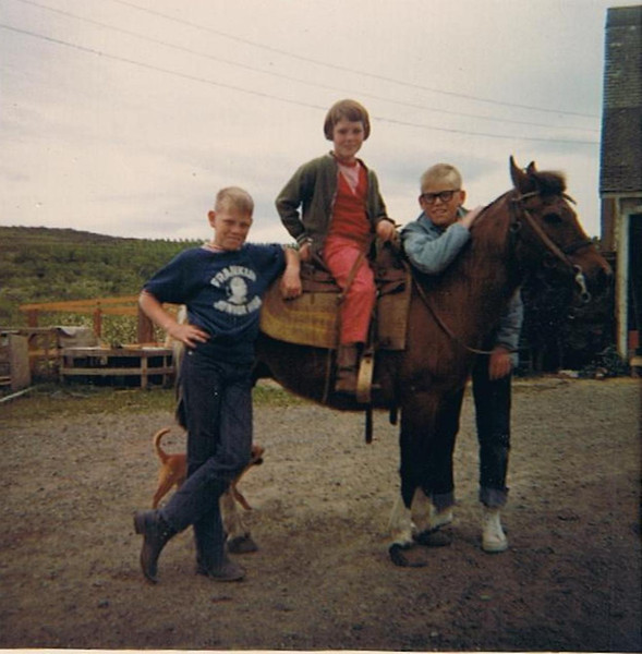 Mark Yaden (left, age 10) - 1967 (May) -  With Pauli Yaden (on Bonnie the Horse, age 8), & Danny Yaden (in cool glasses, age 13) - Selah Farmhouse - Selah, WA