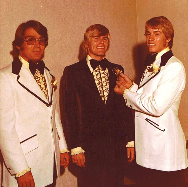 Mark Yaden (far right) - August 31, 1974 - Age 18 - With brothers Dave Yaden, Jr. (far left, age 26) and Dan Yaden (center, age 20) - Dan's wedding day - Holy Redeemer Catholic Church - Yakima, WA