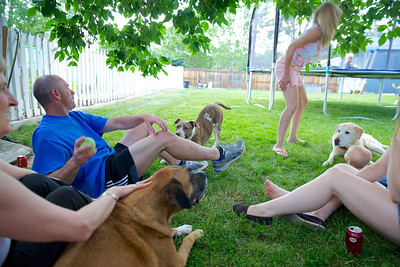 Informal group photo with dogs