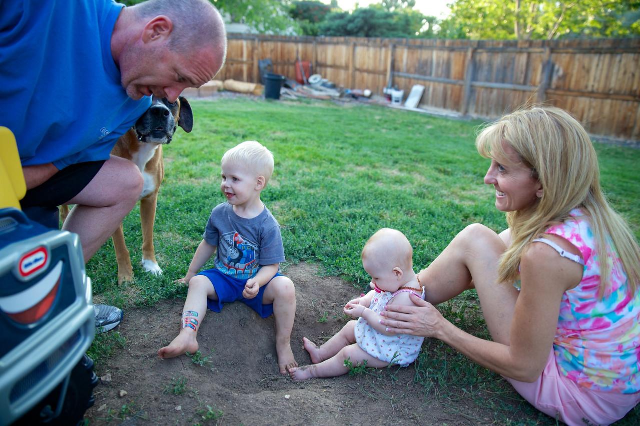 Kadin & Makenzie playing in the dirt with Grandma & Grandpa.