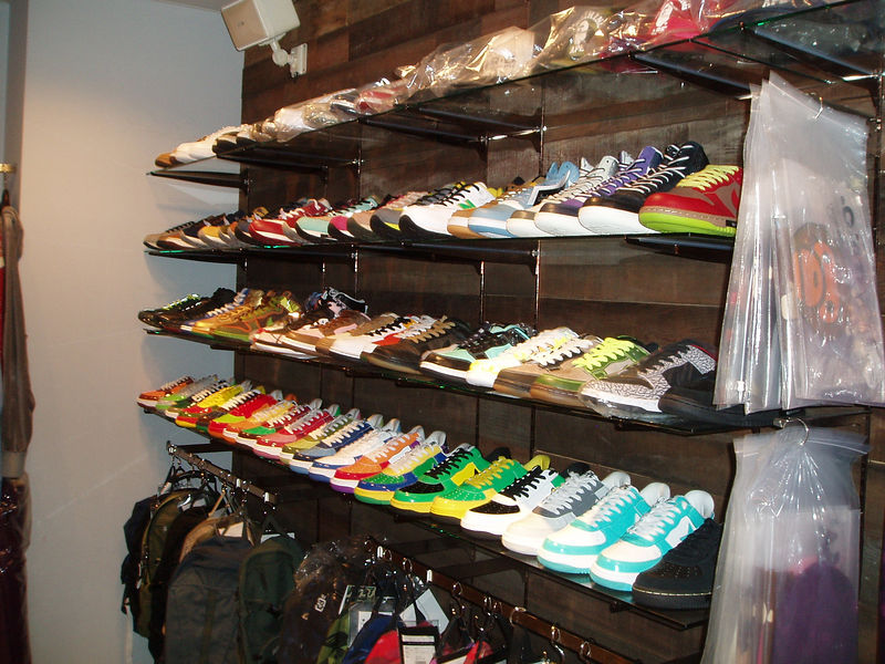 """A store in Harajuku called Jools Judge with a rather large collection of """"A Bathing Ape"""" aka BAPE kicks clothes!"""
