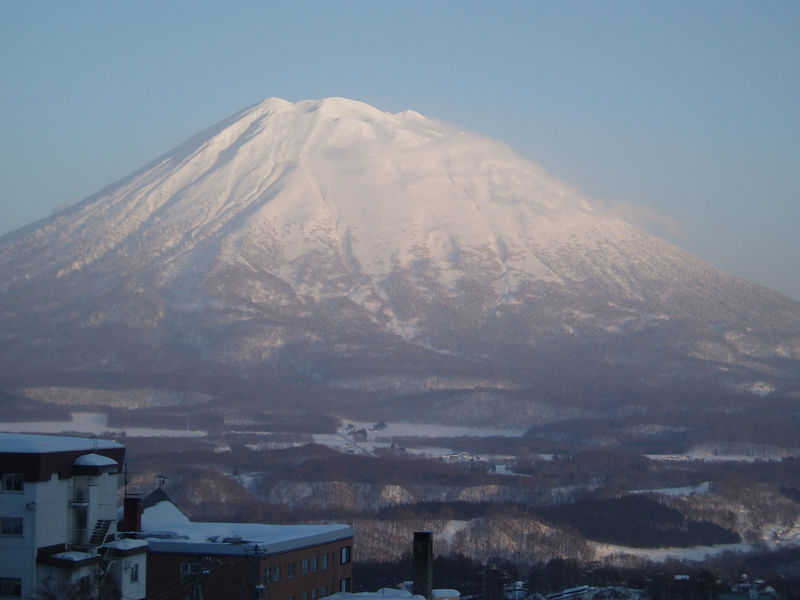 Mount Yotei  from out Hotel room on the top floor.  All 4 of them.
