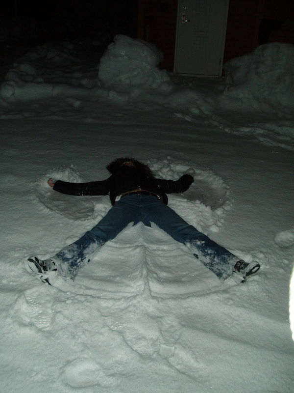 Tania's snow angel antics in a Blizzard, drunk at about 3am!