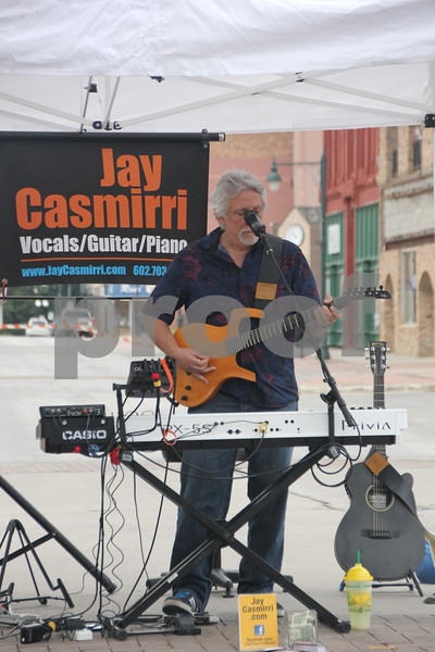 On Saturday, August 27, 2016, Central Avenue in Fort Dodge was a buzz again with Market on Central, which offers plenty of vendors and things to see and do for everyone. Seen here is: Jay Casmirri who performed music at the event.