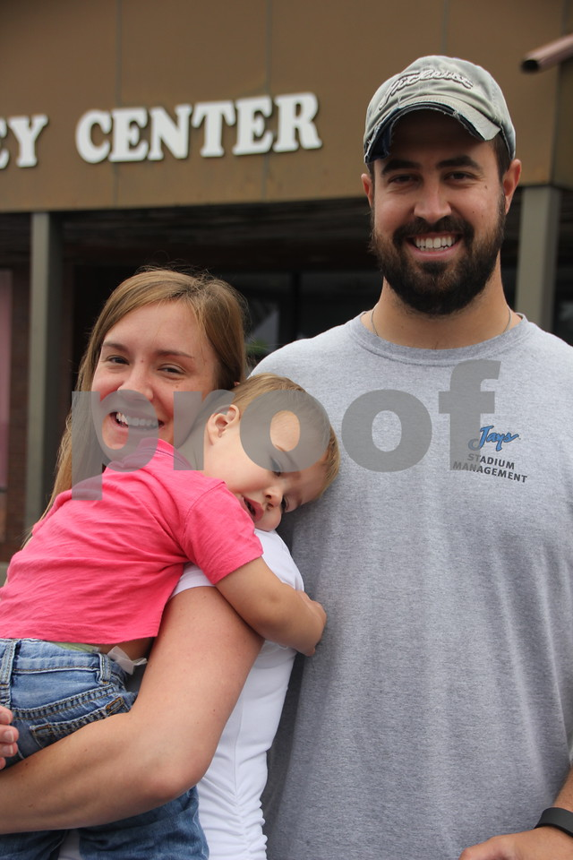 On Saturday, August 27, 2016, Central Avenue in Fort Dodge was a buzz again with Market on Central, which offers plenty of vendors and things to see and do for everyone. Pictured (left to right) is : Jen, (baby) James, and Jake Crimmins.