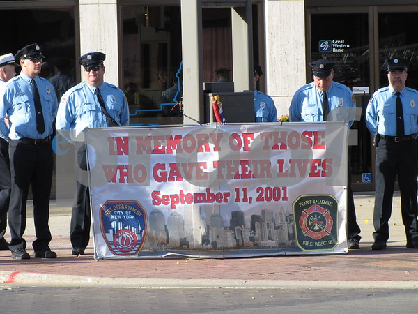 Members of the Fort Dodge Fire, Police, and Rescue held a  ceremony at Market on Central to remember those fallen on September 11, 2001.