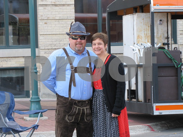 Tom and Joanne Kramer, volunteers with, Oktoberfest, the event committee that hosted Market on Central this week.