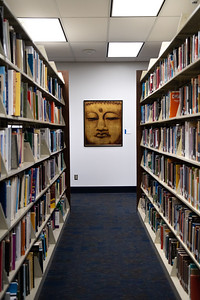 Make sure to check out the cool art around the Mary and Jeff Bell Library as you move along the aisles.