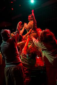 """Mark Antony sways the angry crowd""  Mariah Claiborne as Mark Antony. More Photos: http://bit.ly/1LLqBtp"