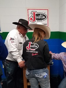 Sami Pearson Treating A Rodeo Athlete