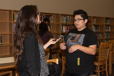 Isabella Ramos (right) getting interviewed by a TAMUCC Marcom worker about the event taking place.