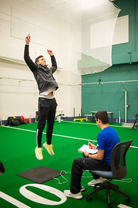 Pablo Martinez undergoes a power vertical jump on jump cat for fitness test lab for Dr. Spaniol Kinesiology Measurement and Evaluation course.