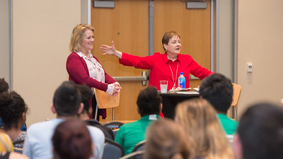 Dr. Diana K. Ivy, Professor of Communication, introduces event speaker President and CEO of TAMU-CC, Kelly M. Quintanilla, Ph.D during COMM & Media Week's Women, Communication, and Leadership discussion.   Click on the link to view more photos: http://bit.ly/2HfiNm1
