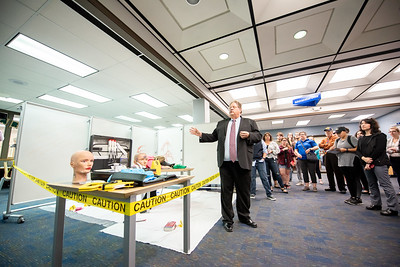 Islanders had a chance to observe a mock crime scene during a live demo held in the Mary and Jeff Library.