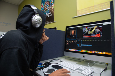 Kerriyon Tillman works on his documentary project in his Advance Production Documentary course.