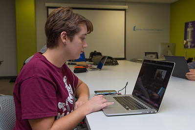 Rebecca Duke works on her documentary project in her Advance Production Documentary course.