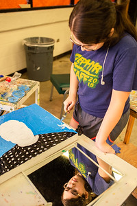 Naomi Martin adds texture to her Robin Williams portrait in Intermediate Painting.