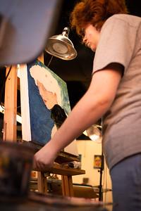 Caroline Wilson is preparing to finish her Impasto portrait for Intermidate Painting.