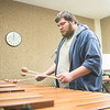 Brian Heldon plays the Xylophone in the center for arts building.