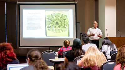 Guest speaker Renato Ramirez, Professor of Political Science at De Mar College, explains  the court case LULAV c. Richards and the struggle for equal access to quality higher education in South Texas.