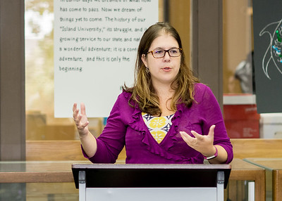 Assistant Professor of English, Dr. Jennifer Sorensen spoke to a group of Islanders during the Outstanding Author Speaker Series held at the Mary and Jeff Bell Library.