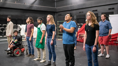Theatre students perform during the Shakespeare Monologue Showcase as part of the Shakespeare Birthday Celebration in the Wilson Theatre.
